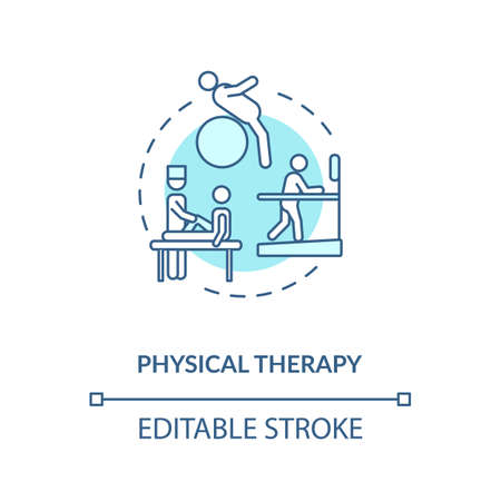 Physical therapy concept icon. Healthcare service, physiotherapy idea thin line illustration. Trauma recovery, injury rehabilitation. Vector isolated outline RGB color drawing. Editable stroke Иллюстрация
