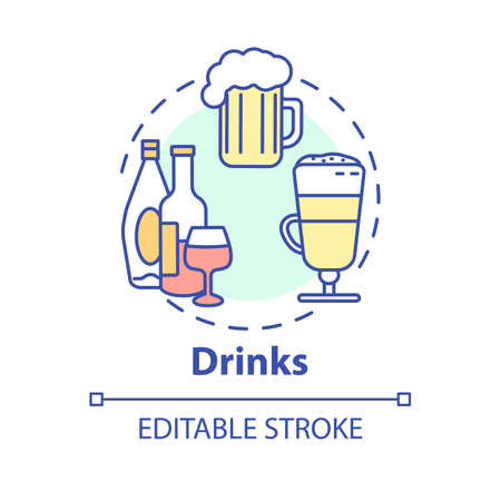 Drinks concept icon. Refreshing tasty liquids. Wide drinking choice. Restaurant alcohol variety idea thin line illustration. Vector isolated outline RGB color drawing. Editable stroke