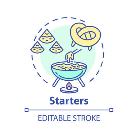 Starters concept icon. Delicious before meal appetizers. Types of pastry. Tasty restaurant snacks menu idea thin line illustration. Vector isolated outline RGB color drawing. Editable stroke Иллюстрация
