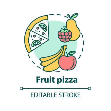 Fruit pizza concept icon. Organic sweet ingredients. Vegan pizzeria menu. Tasty children dishes idea thin line illustration. Vector isolated outline RGB color drawing. Editable stroke