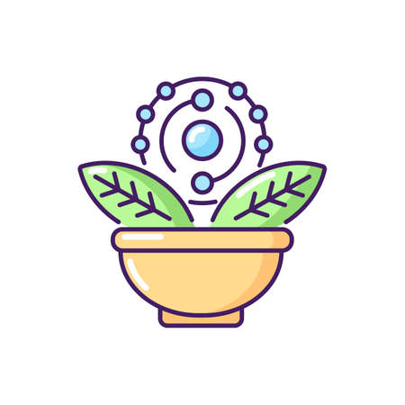 Antioxidant RGB color icon. Green tea. Acai and grapefruit for healthy eating. Dietary food. Chemical structure. Herbal ingredient. Supplement for diet. Isolated vector illustration