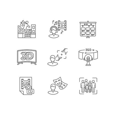 Film making linear icons set. Visual development for movie. Special effect for cinematography. Customizable thin line contour symbols. Isolated vector outline illustrations. Editable stroke