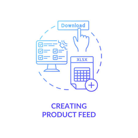Creating product feed concept icon. XML data feed idea thin line illustration. Product information management. E-commerce marketing. Online sales efforts. Vector isolated outline RGB color drawing