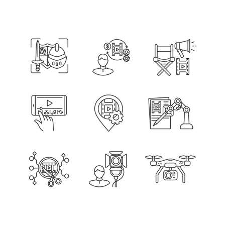 Film making process linear icons set. Theatrical prop for historical drama. Producer for movie project. Customizable thin line contour symbols. Isolated vector outline illustrations. Editable stroke