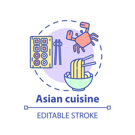 Asian cuisine concept icon. Wide variety of asian meals. Traditional menu with seafood ingredients. Tasty foods idea thin line illustration. Vector isolated outline RGB color drawing. Editable stroke