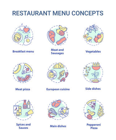 Restaurant menu concept icons set. Large variety of different food to choose. Full course meals. Ingredients idea thin line RGB color illustrations. Vector isolated outline drawings. Editable stroke