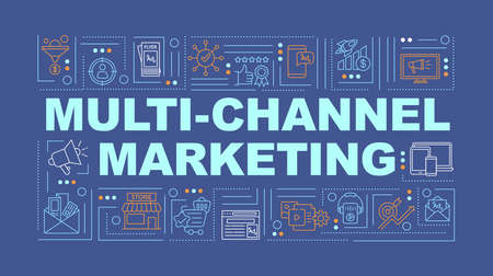 Multi-channel marketing word concepts banner. Branding strategy. Consumer experience. Infographics with linear icons on turquoise background. Isolated typography. Vector outline RGB color illustration Stock Illustratie