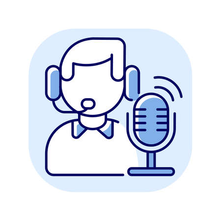 Broadcast blue RGB color icon. Radio stream. Online podcast presenter. Person record audio. Communication and information transmission. Wireless network for signal. Isolated vector illustration Vecteurs