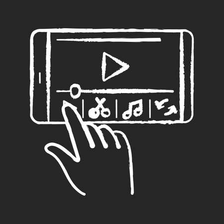 Smartphone film making chalk white icon on black background. Edit video with electronic device. Creative process on mobile phone. Multimedia player. Isolated vector chalkboard illustration Vektorové ilustrace