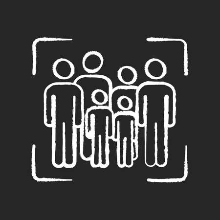Crowd scene chalk white icon on black background. Acting people in camera shot. Audience on screen. Group for movie making. Film production personnel. Isolated vector chalkboard illustration Vector Illustration
