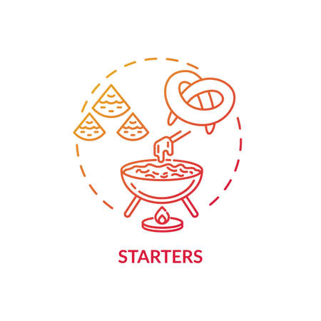 Starters concept icon. Delicious before meal appetizers. Types of differenft pastry. Tasty restaurant snacks menu idea thin line illustration. Vector isolated outline RGB color drawing 向量圖像