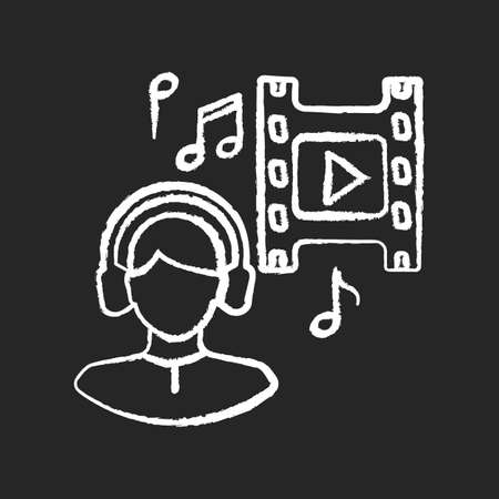 Music supervisor chalk white icon on black background. Producer for audio making. Listen to song in headset. Composer for movie soundtrack. Sound in headphones. Isolated vector chalkboard illustration