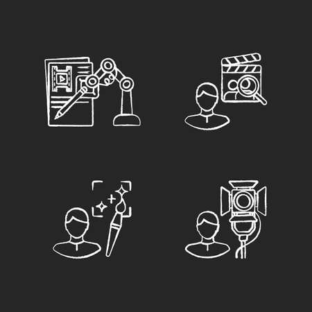 Movie production chalk white icons set on black background. AI written screenplay. Casting director hire actors. Creative art producer. Lighting technician. Isolated vector chalkboard illustrations