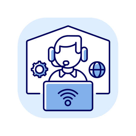 Remote workplace blue RGB color icon. Freelancer work. Distant workspace. Home office for freelance. Employee with headset and laptop. Online communication with wifi. Isolated vector illustration