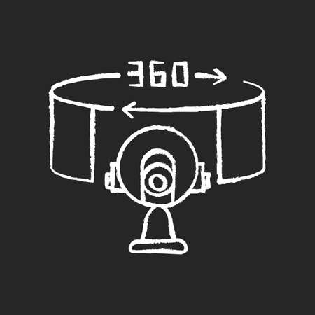 VR camera chalk white icon on black background. 360 degree observation angle. Innovative panoramic shot with device. Electronics for cinematography. Isolated vector chalkboard illustration