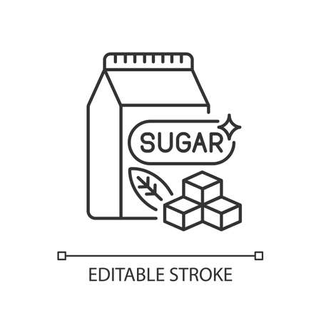 Sugars linear icon. Crystal cubes. Refined powder in packaging. Supermarket product. Thin line customizable illustration. Contour symbol. Vector isolated outline drawing. Editable stroke