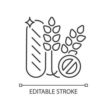Gluten linear icon. Wheat free product. No allergy ingredient. Dietary for healthy eating. Thin line customizable illustration. Contour symbol. Vector isolated outline drawing. Editable stroke