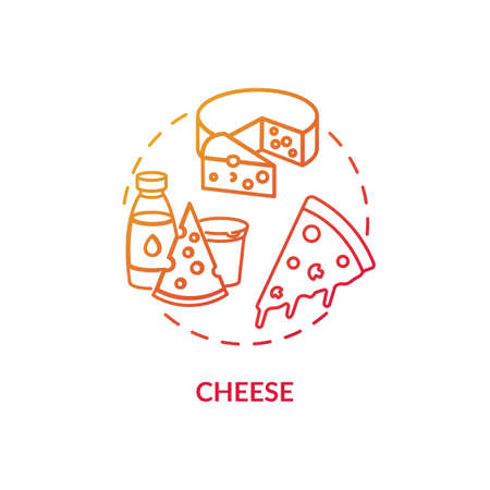 Cheese concept icon. Delicious cooking ingredients. Fresh dairy products. Different types of cheese. Groceries idea thin line illustration. Vector isolated outline RGB color drawing