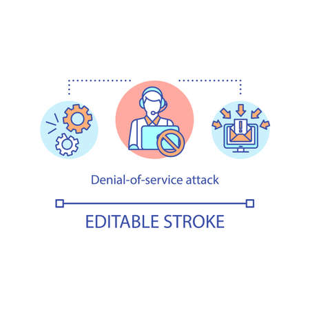 Denial of service attack concept icon. Cyber security idea thin line illustration. Protection from dos. Flooding targeted machine. Vector isolated outline RGB color drawing. Editable stroke