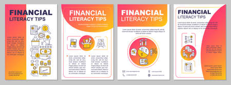 Financial literacy tips brochure template. Income growth. Flyer, booklet, leaflet print, cover design with linear icons. Vector layouts for magazines, annual reports, advertising posters Vetores