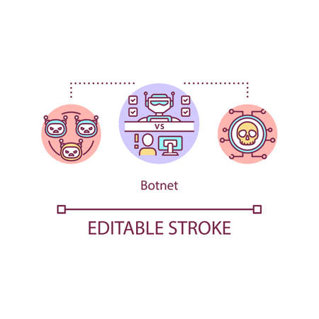 Destructive bot network concept icon. Global botnet. Compromised computers. Malicious software idea thin line illustration. Vector isolated outline RGB color drawing. Editable stroke
