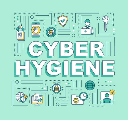 Cybersecurity hygiene word concepts banner. Priority security hygiene. Informatic health. Infographics with linear icons on mint background. Isolated typography. Vector outline RGB color illustration Illustration