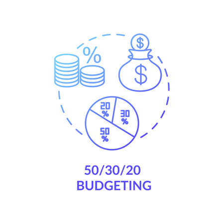 Budgeting concept icon. Money dividing ideas. Best saving strategies for future. Business income expectations. Wealthy life idea thin line illustration. Vector isolated outline RGB color drawing