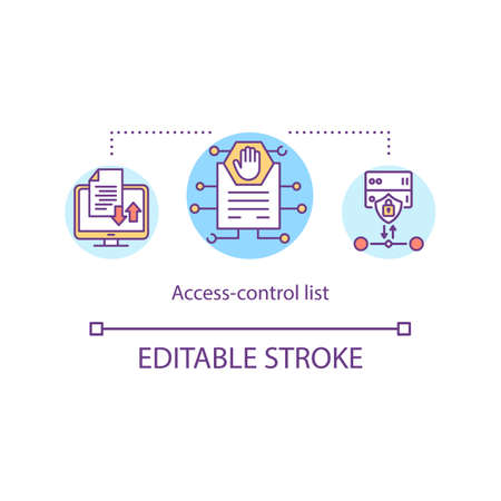 Access control list concept icon. Digital environments and distribution mechanism. List of permissions idea thin line illustration. Vector isolated outline RGB color drawing. Editable stroke
