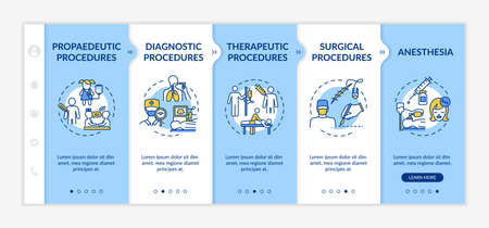 Medical procedures types onboarding vector template. Professional diagnostics and treatment responsive mobile website with icons. Webpage walkthrough step screens. RGB color concept Stock fotó - 154998578