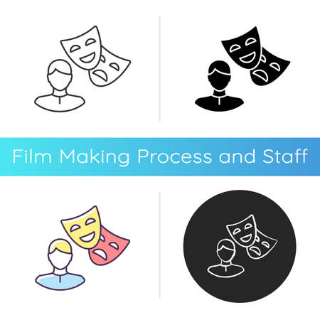 Actor icon. Theater performer. Drama professional. Artist with theatrical mask. Broadway star. Entertainment industry worker. Linear black and RGB color styles. Isolated vector illustrations Stock fotó - 154998676