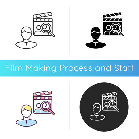 Casting director icon. Producer for filmmaking. Cinema production personnel. Hire crew for theater. Hollywood executive. Linear black and RGB color styles. Isolated vector illustrations