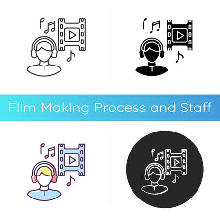 Music supervisor icon. Producer for audio making. Listen to song in headset. Composer for movie soundtrack. Sound in headphones. Linear black and RGB color styles. Isolated vector illustrations