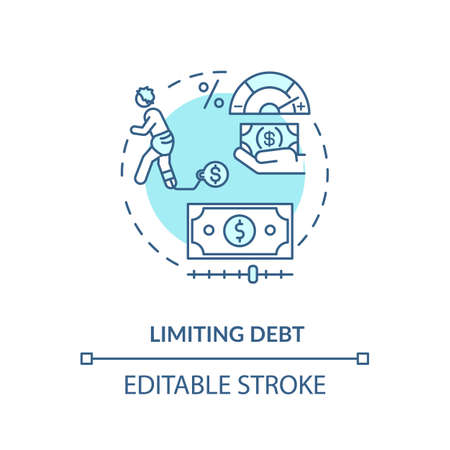 Limiting fund concept icon. Saving strategy. Money managing tip. Success investment in life. Financial education idea thin line illustration. Vector isolated outline RGB color drawing. Editable stroke