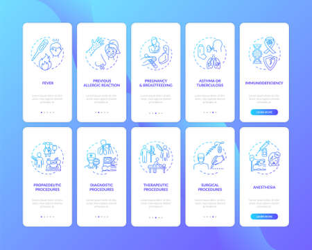 Healthcare services onboarding mobile app page screen with concepts set. Medical procedures and vaccination walkthrough five steps graphic instructions. UI vector template with RGB color illustrations