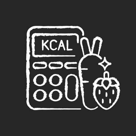 Calories chalk white icon on black background. Ingredients for healthy eating. Dietary food. Body care. Fruit and vegetable for diet. Count weight loss. Isolated vector chalkboard illustration