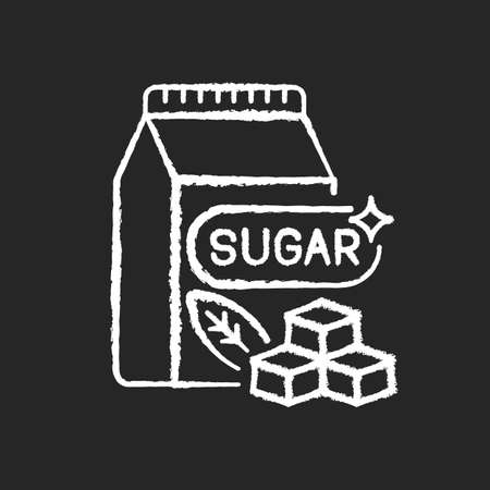 Sugars chalk white icon on black background. Crystal cubes. Refined powder in packaging. Condiment ingredient. Saturated fat for bad dietary. Sweetener in food. Isolated vector chalkboard illustration Vecteurs