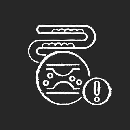 Cholesterol chalk white icon on black background. Cardiac disease. Problem with blood circulation. Block in artery. Bad eating habit. Microbiology and anatomy. Isolated vector chalkboard illustration