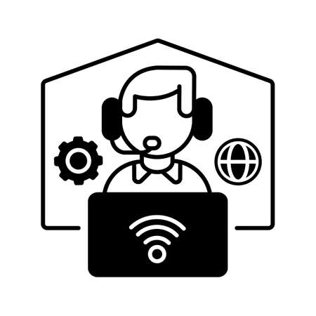 Remote workplace black linear icon. Freelancer work. Distant workspace. Home office for freelance. Employee with headset and laptop. Outline symbol on white space. Vector isolated illustration