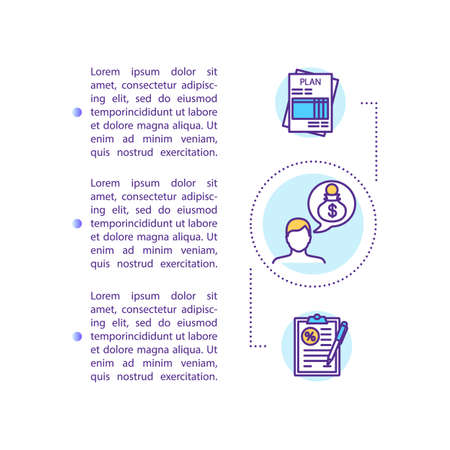 Banking investment budget concept icon with text. Signature agreement. Attachment, saving money. PPT page vector template. Brochure, magazine, booklet design element with linear illustrations