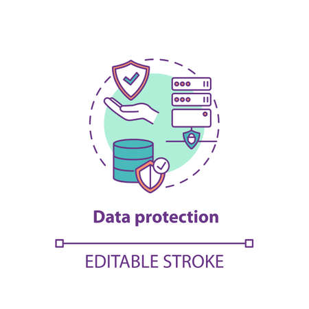 Data protection concept icon. Safeguarding important information idea thin line illustration. Confidentiality defense. Databases protection. Vector isolated outline RGB color drawing. Editable stroke
