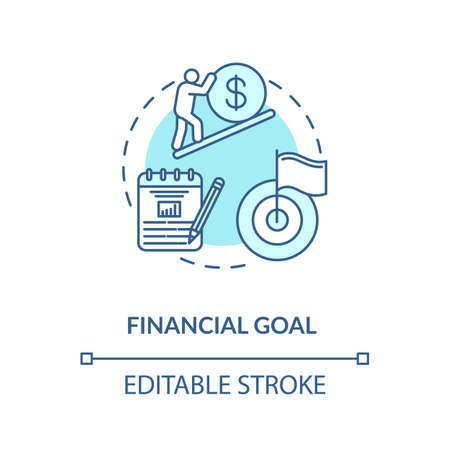 Financial goal concept icon. Budget future planning. Wealthy retirement. Financial freedom. Money getting target idea thin line illustration. Vector isolated outline RGB color drawing. Editable stroke Illusztráció