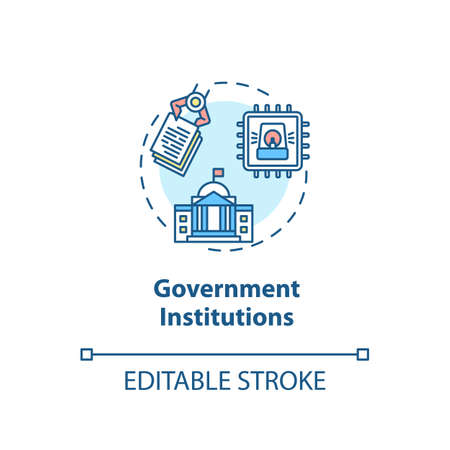 Government institutions concept icon. Security solutions. Cyber threats idea thin line illustration. Personal data security. Vector isolated outline RGB color drawing. Editable stroke