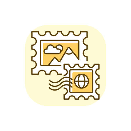 Postage stamps yellow RGB color icon. Collecting rare postmarks hobby, philately. Postal service. Small stickers with pictures for letters. Isolated vector illustration