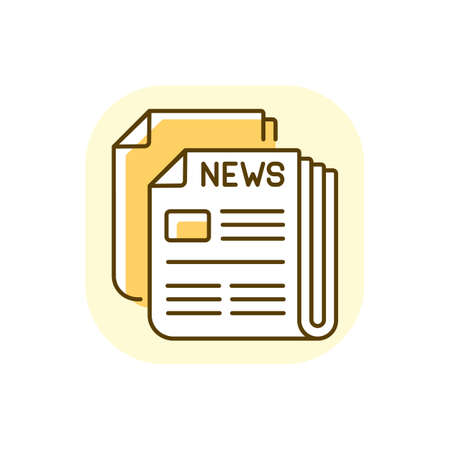 Newspaper yellow RGB color icon. Mass media, postal service, journalism. Daily paper delivery. Information about latest events in world. Isolated vector illustration