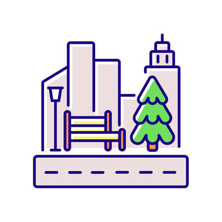 Street landscaping RGB color icon. City sidewalk. Public park. Growing tree in town. Nature in urban district. Skyscrapers with traffic. Driveway near buildings. Isolated vector illustration