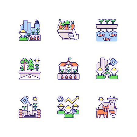 Agricultural business RGB color icons set. Urban farming. Healthy food. Vegetables from farmer. Aquaponic production. Green roof. School garden. Animal husbandry. Isolated vector illustrations Vetores