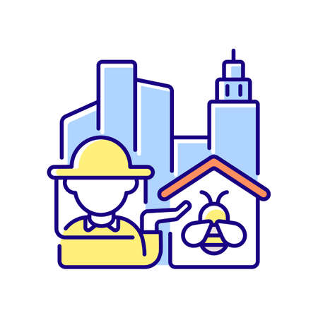 Urban beekeeping RGB color icon. Honey bee for honey production. Worker with insect. Agriculture business. Organic product. Professional beekeeper in city. Isolated vector illustration