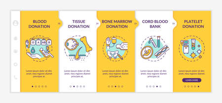 Organization donation onboarding vector template. Medical charity, healthcare service. Transplantation procedures responsive mobile website with icons. Webpage walkthrough step screens. RGB color concept Vector Illustration