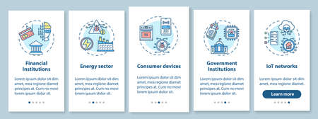 Critical infrastructure security onboarding mobile app page screen with concepts. Finance, energy, government walkthrough 5 steps graphic instructions. UI vector template with RGB color illustrations  イラスト・ベクター素材