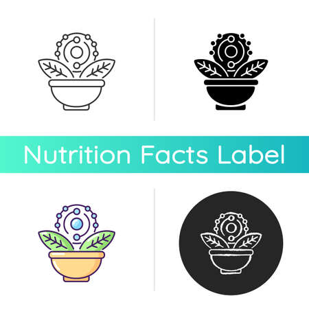 Antioxidant icon. Green tea. Acai and grapefruit for healthy eating. Dietary food. Chemical structure. Supplement for diet. Linear black and RGB color styles. Isolated vector illustrations